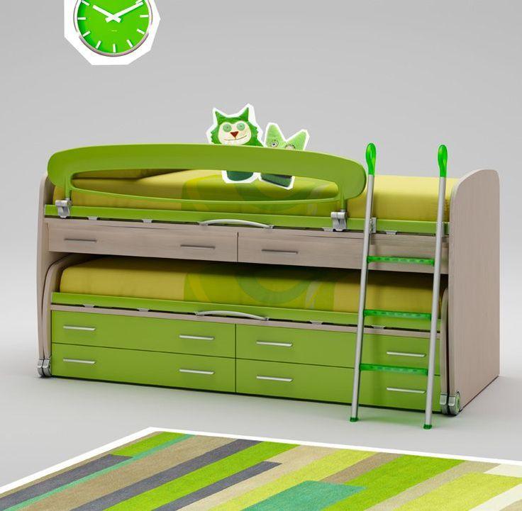 Кровать для двух детей в ярко-зеленых тонах Moretti Compact WP014-1597