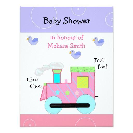 pink choo choo train baby shower card