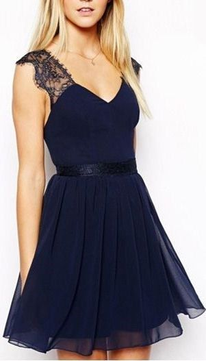 Chiffon Lace Homecoming Dress,Sexy Backless Prom Dress,V-Neck Party Dress,Dark Blue Evening Dress