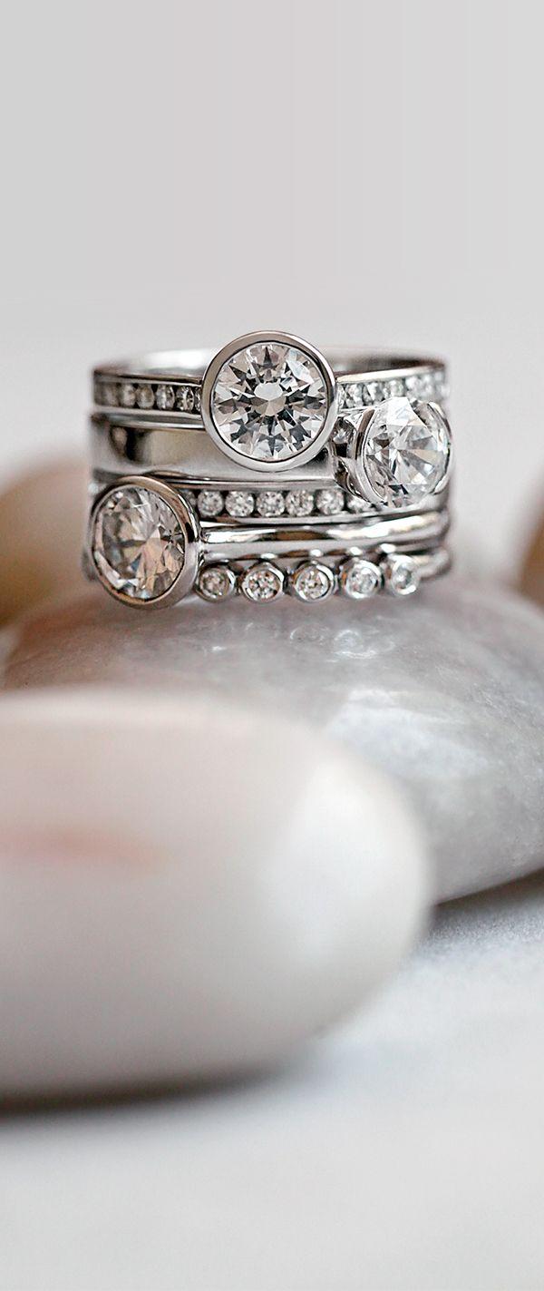 Stunning bezel set engagement rings.