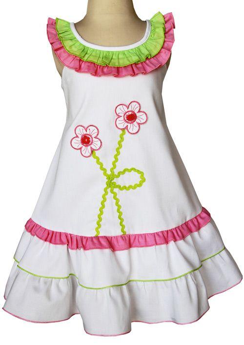 Little girls white applique dress