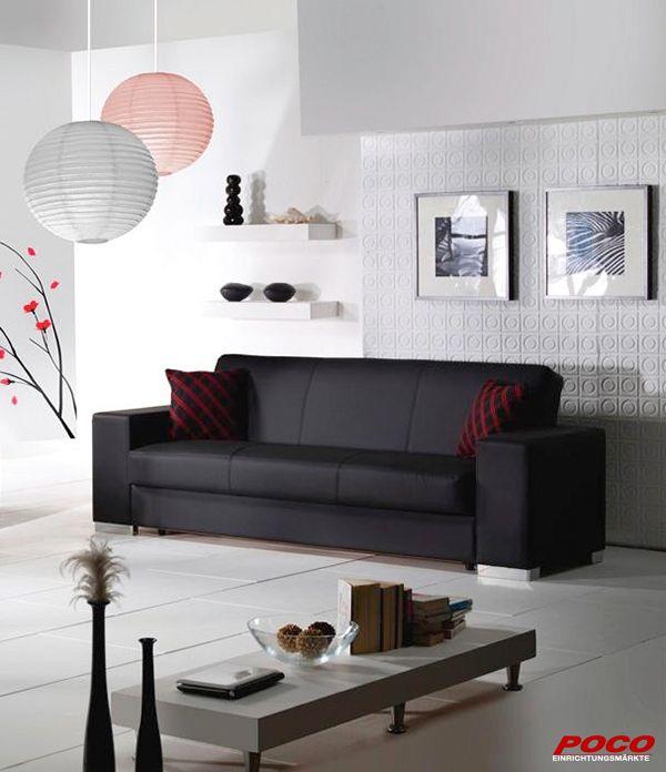 Schwarz, edel und pflegeleicht mit drei Sitzplätzen. Das Schlafsofa Kobe bietet Ihnen eine bequeme Liegefläche von ca. 110 x 190 cm zum entspannen und relaxen. Der Rücken sowie die Sitzfläche bestehen aus einer Bonell-Federkern und Gummiunterfederung.