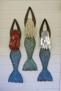 three mermaid sculptures at 3' handcrafted by ironfishart.com metal artist & sculptor Chase Allen