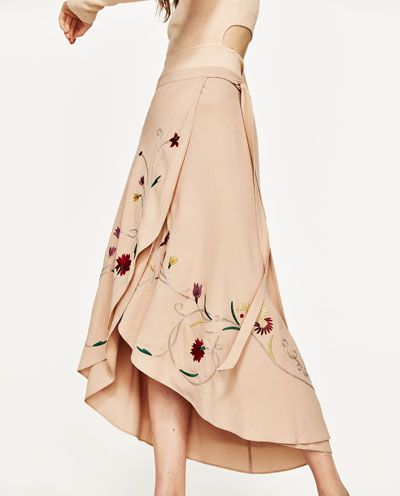 FLORAL EMBROIDERED SARONG SKIRT-Midi-SKIRTS-WOMAN | ZARA United States