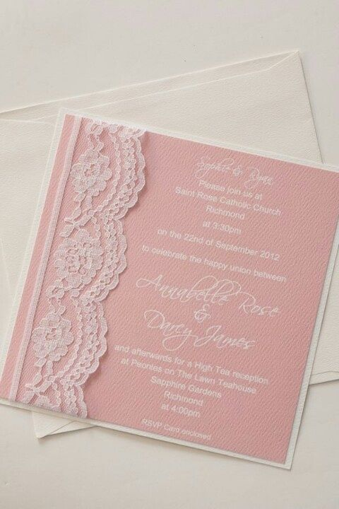 Lace wedding invitation vintage romantic pink pastel color by canday