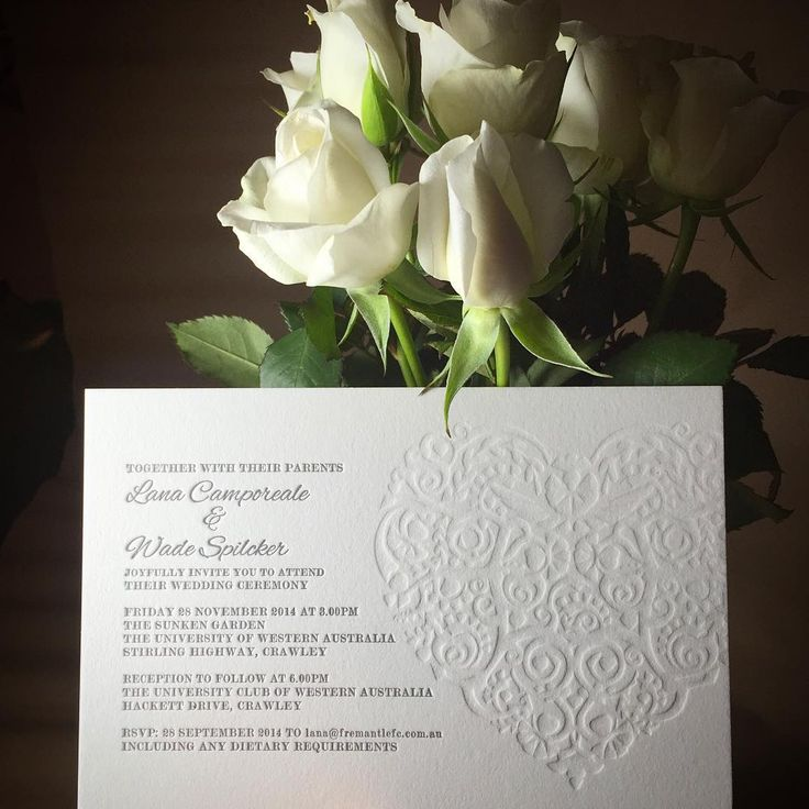 Exquisite blind debossing for another stunning wedding invitation. #fentonink #letterpresslove #blinddeboss #classicbeauty #whiteroses #weddinginvitaion #letterpressprinting