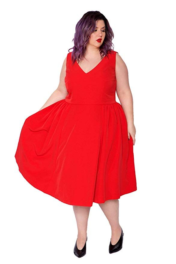 228e59ae946 Astra Signature Women s Plus Size V Neck Sleeveless Sexy Party Dresses  (Red