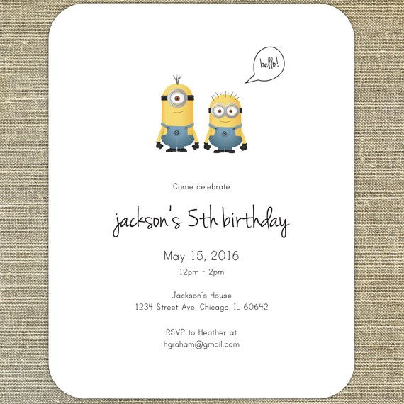 Minions Despicable Me Birthday Party Invitations set of 20 with matching envelopes & return address printing; for girls and boys