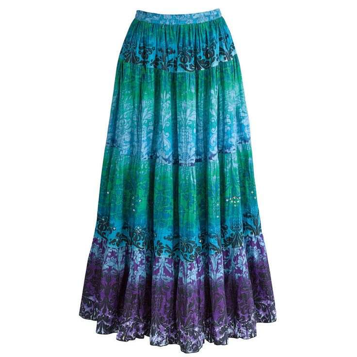 Peasant Skirt - Sea Glass Crinkle Broom - Blue Green Stripes #CATALOGCLASSICS #PeasantBoho