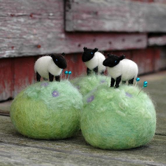 Mini Sheep on a Meadow Needle Felted Pincushion