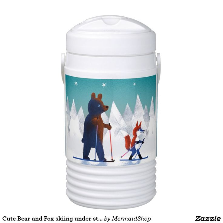 Cute Bear and Fox skiing under stars in a forest Igloo Beverage Cooler