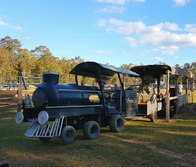 """""""Train"""" rides at Cobb and Co Nine Mile Camping grounds near Gympie, QLD."""