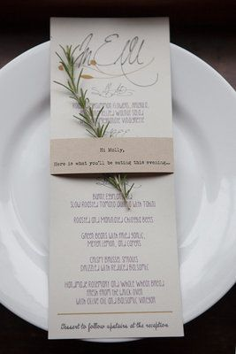 A rustic wedding menu with a spring of rosemary—perfect finishing touch! (Photo by Sequins and Candy)