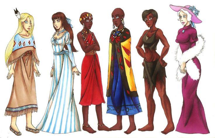 Humanized Rain (Spirit) (not Disney!), Lady (Lady and the Tramp), Kiara (Lion King 2), Nala (Lion King), Terk (Tarzan), & Duchess (Aristocats)