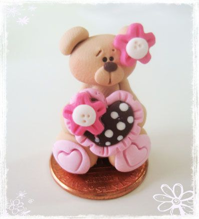 SO DARN CUTE --- would make a cute charm for a lil girls necklace.  SALE Bear with Polka Dot Heart Polymer Clay by rainbowdayhappy, $1.50