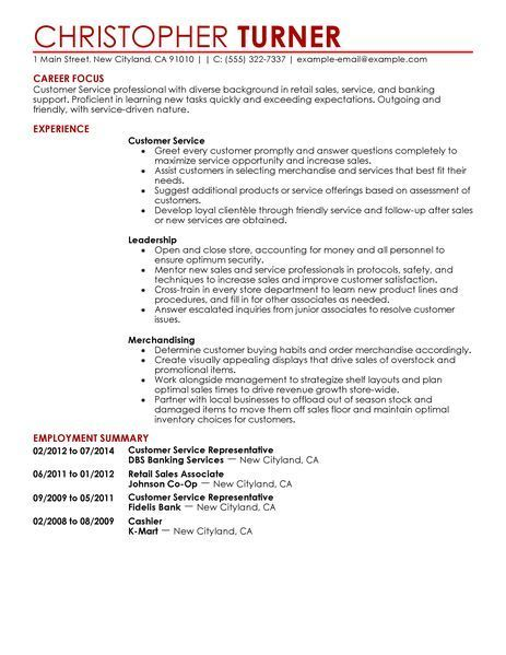 Pin by Gwen J Enzler on Employment Pinterest Resume examples - resume objective for customer service