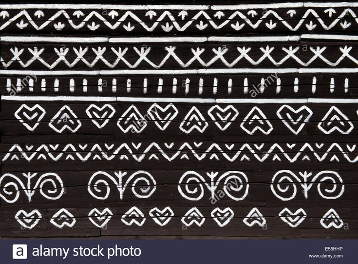 Download this stock image: painted pattern on side of log house in Cicmany, UNESCO World Heritage Site, Slovakia - E55HHP from Alamy's library of millions of high resolution stock photos, illustrations and vectors.