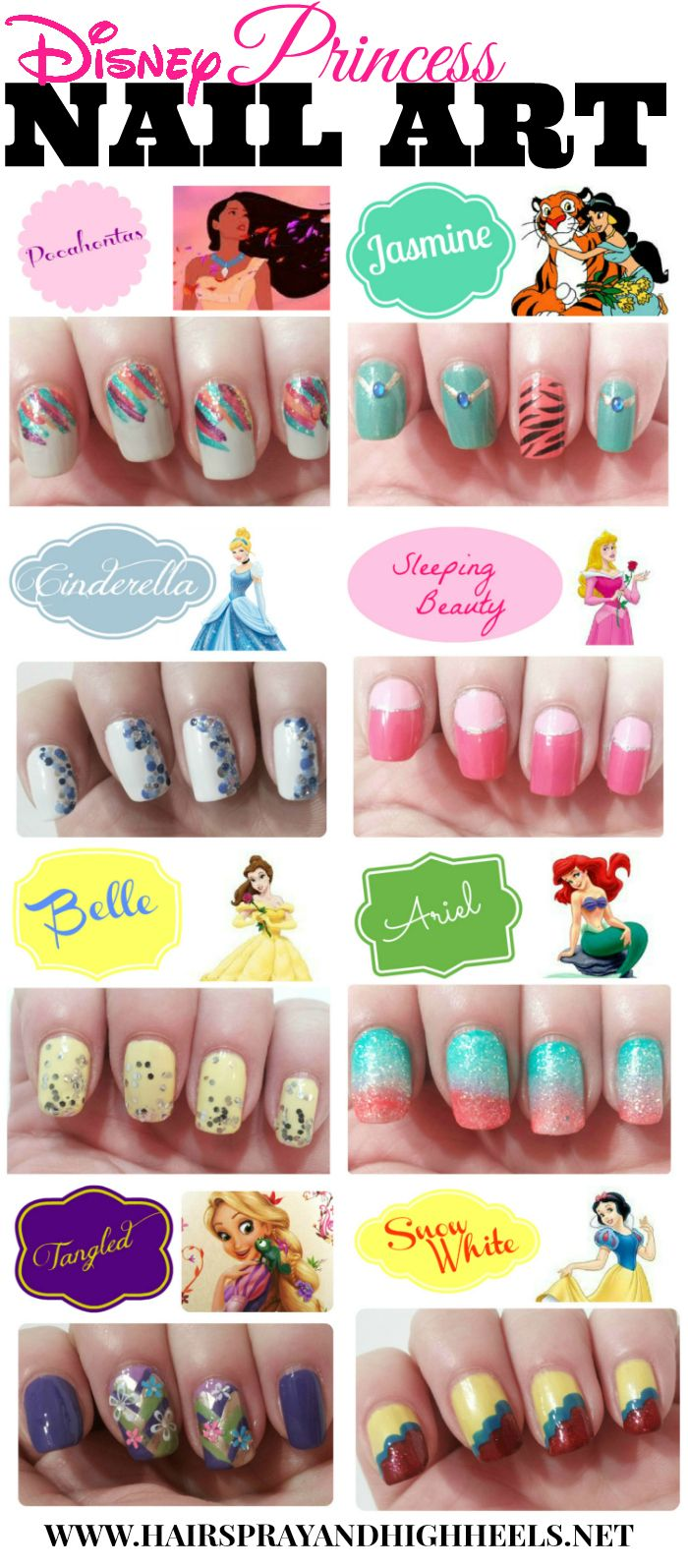 I love the Cinderella and Aurora nails. However, I would do Aurora in blues because I liked her better in the blue than in pink.