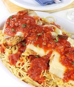 Healthier Chicken Parmesan Recipe by opting for ingredients like egg whites and skim milk. Thank you SHAPE mag ;)