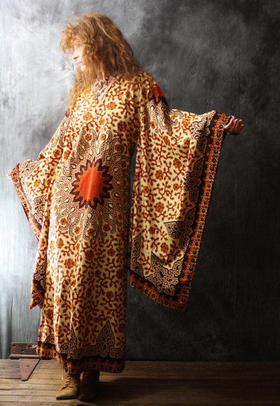 Vintage Dress 1960s Hippie India Cotton Tribal by MajikHorse, $150.00