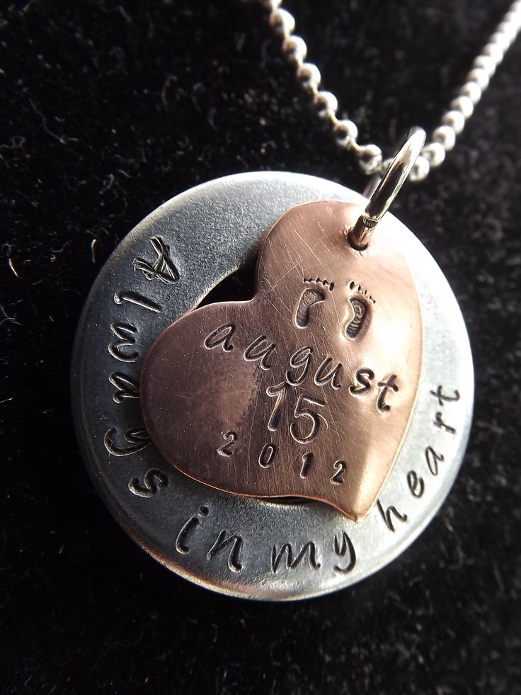 Pregnancy and infant loss remembrance necklace.  Hand stamped.