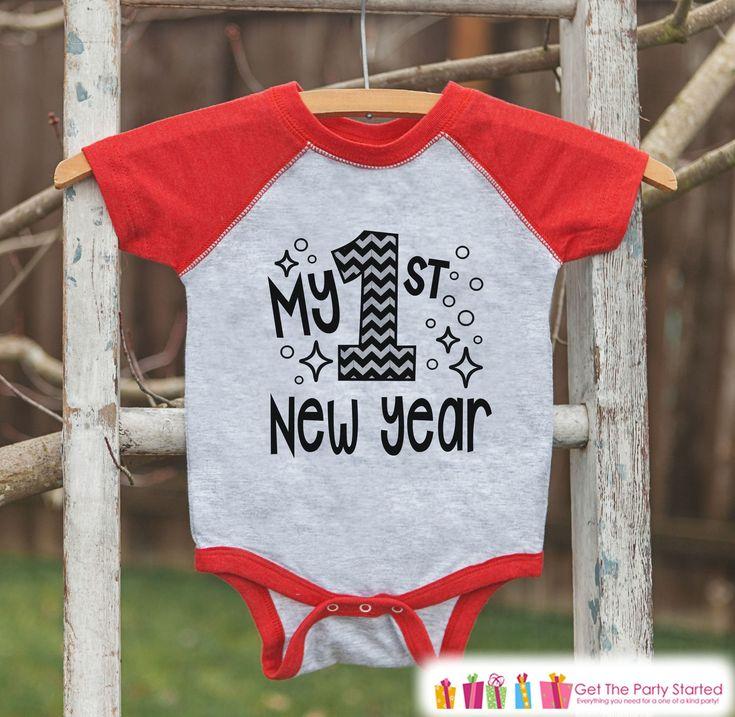 Kids New Year Shirts - My 1st New Year - Happy New Years Eve Outfit - New Years Eve Onepiece or Shirt - Infant, Baby Red Baseball Tee