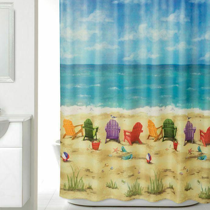 Allure Beach Chairs Fabric Shower Curtain Coastal Nautical Beach