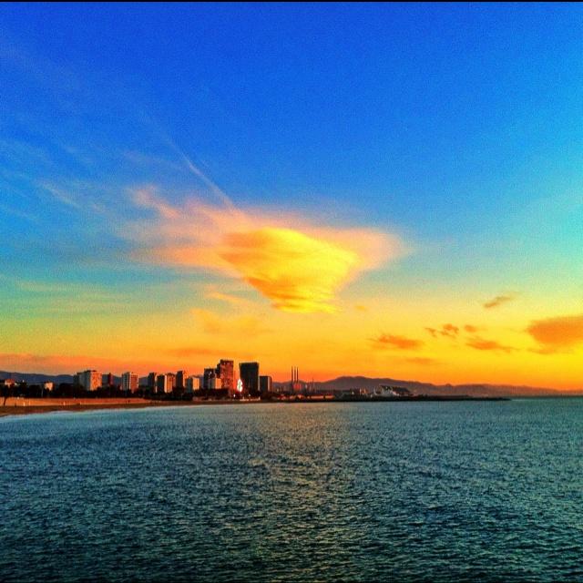 Sunrise over Barcelona beach