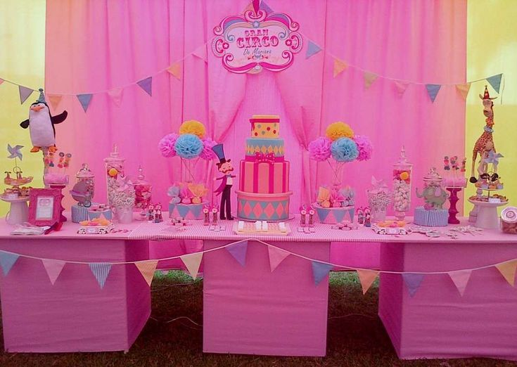 Pink Circus girl birthday party dessert table! See more party planning ideas at CatchMyParty.com!