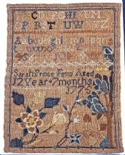 Sarah Prince Fenn's Sampler: Sarah was born on February 21, 1763, to Benjamin and Mary Peck Fenn in Milford, Connecticut. She married Theophilus Miles, and they had three children—Mary, Samuel, and Sarah Fenn. Mrs. Miles died in Milford on May 15, 1790, about five months after the birth of their daughter Sarah Fenn Miles. Theophilus married Martha Clark on September 15, 1791.