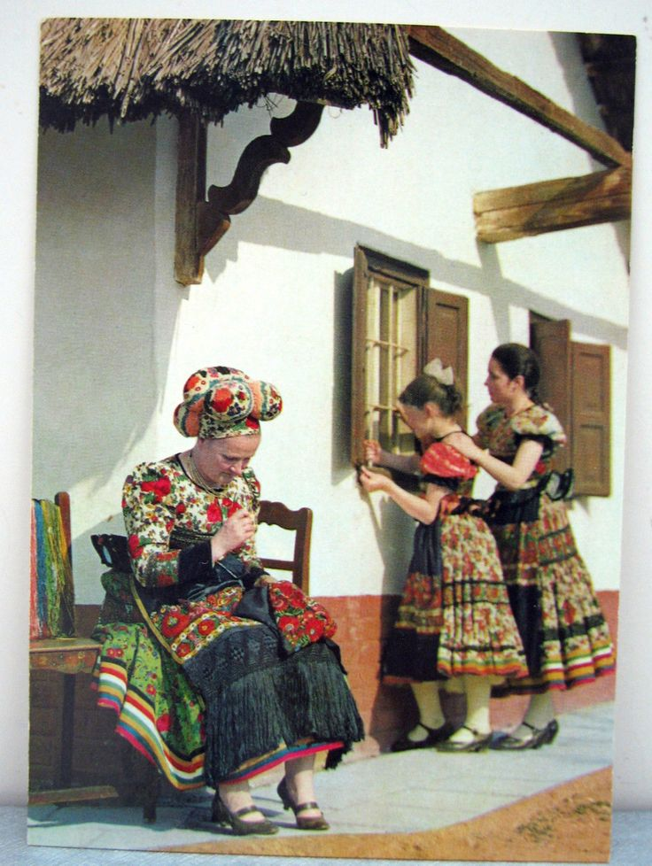 Vtg Hungarian Folk Art Postcard Mezőkővesd Matyó Folk Costumes Unused 2 | eBay