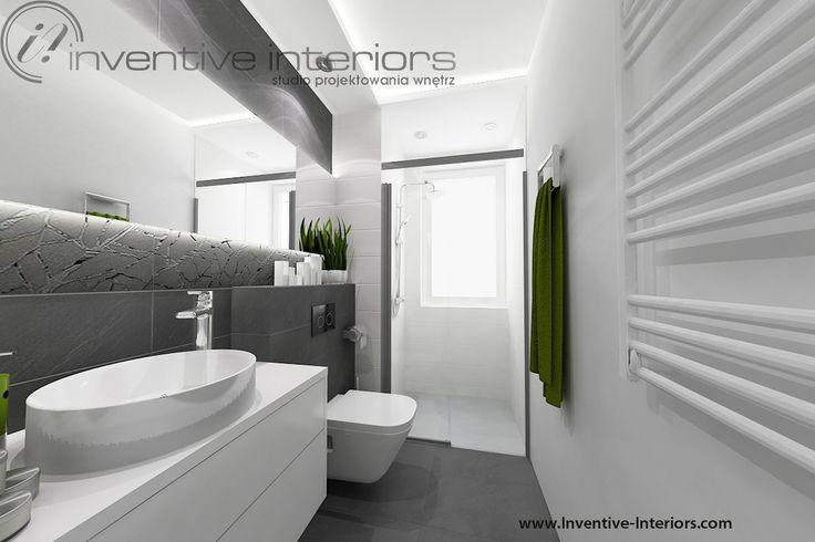 Projekt łazienki Inventive Interiors - biel i grafit w łazience