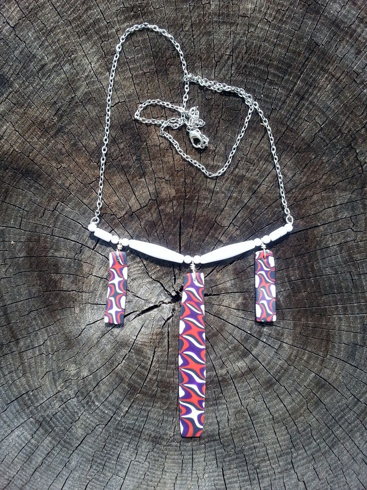 Tribal inspired necklace from polymer and beads.