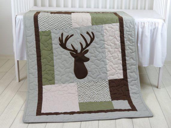 Deer Head Baby Blanket, Hunting Quilt Blanket, Green Chevron Baby Patchwork Blanket, Antler Blanket  I love the themed childrens room, because