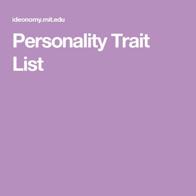Personality Trait List