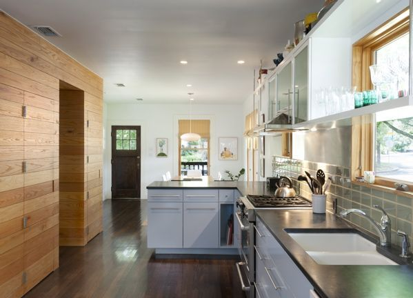 bungalow modern kitchen; stained oak floors; light blue cabinets; fireslate countertops; tasmanian green subway tile; by Rick & Cindy Black Architects / Hello Kitchen