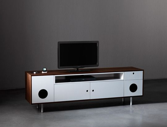 TOROTOTELA micro desk and the CAIXA media cabinet both offer integrated audio speakers...