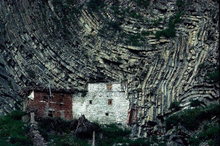 The Geologic Stratification!  Amazing.  High Himalaya : Eric Valli