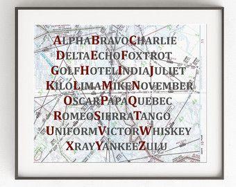 Phonetic Alphabet Map Art Print Aviation Decor Blue Nursery