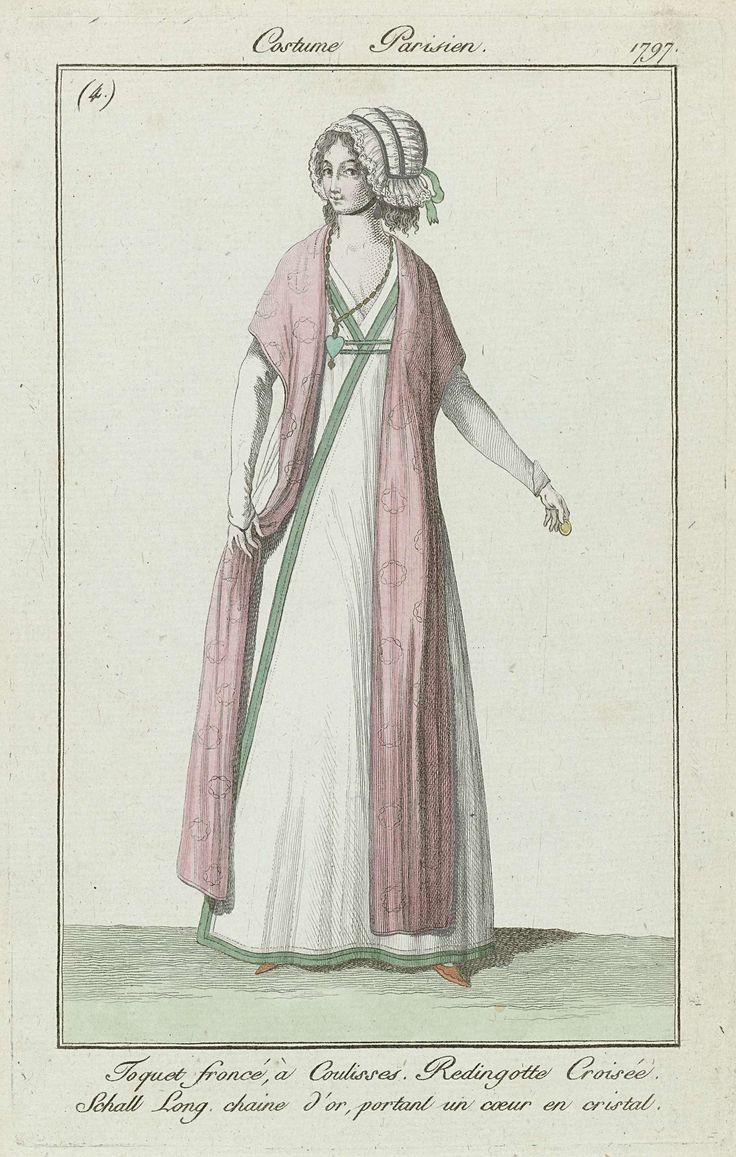 Journal des Dames et des Modes, Costume Parisien, août 1797, (4) : Toquet froncé à Coulisses..., Anonymous, 1797