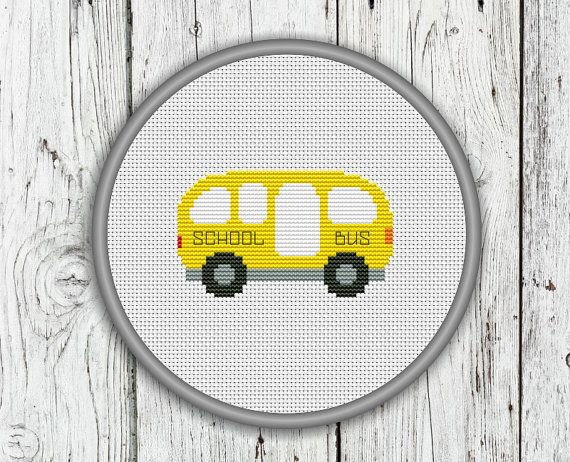 School Bus Counted Cross Stitch Pattern by CrossStitchShop on Etsy