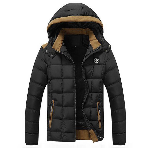 Chaquetas acolchadas con capucha desmontables acolchadas de la tela escocesa del paño grueso y suave del invierno caliente para los hombres