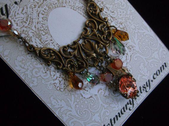 Boho Style collier en cristal de couleur pêche
