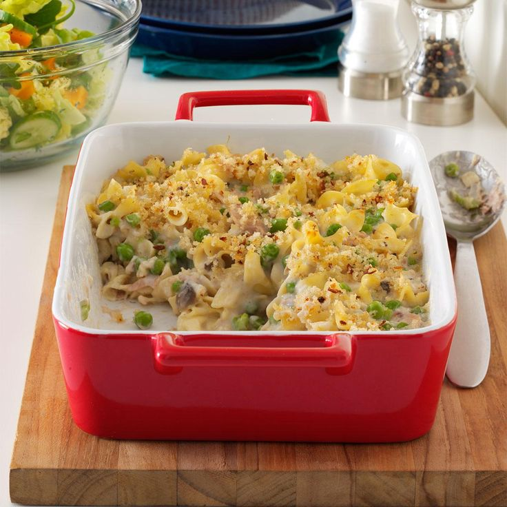 Creamy Tuna-Noodle Casserole Recipe -When you need supper fast, this tuna casserole with peas, peppers and onions makes a super one-dish meal. Cooked chicken breast works well in place of the tuna. —Edie DeSpain, Logan, Utah