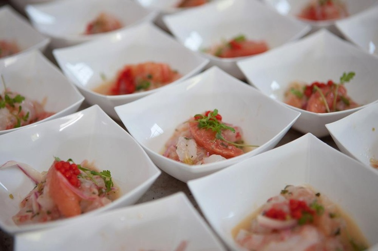 """""""Ruby Ceviche""""- Royal Red Gulf shrimp, Ruby Red grapefruit, red jalapeno lime caviar, red onion, flaked red pepper, tangerine lace (Catering By Design)"""