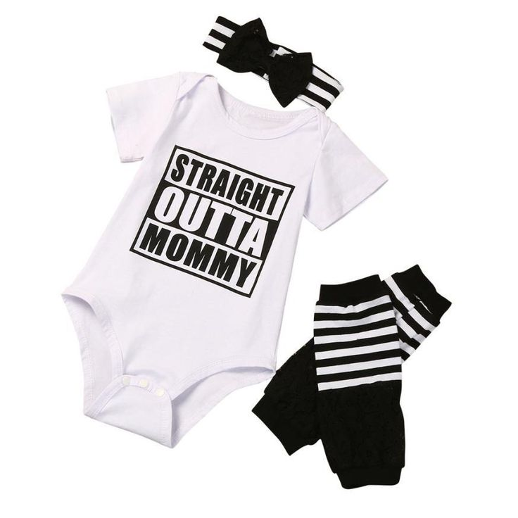 Straight Outta Mommy 3pc Leg Warmer Onesie Set