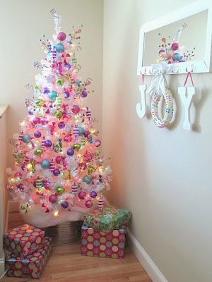 Christmas candy wreath and candy themed tree