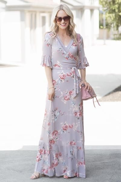 1dc2087750f Allie Dusty Lavender Floral Faux Wrap Maxi Dress