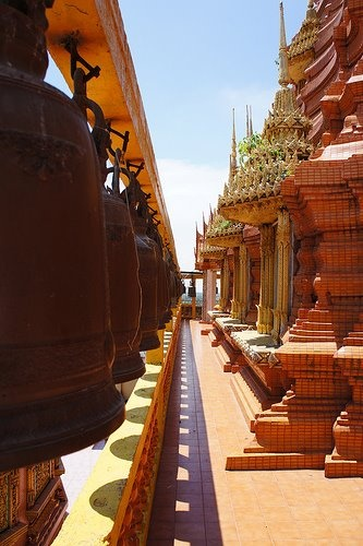 The bells and corridor way of Wat Tham Sua, Kanchanaburi
