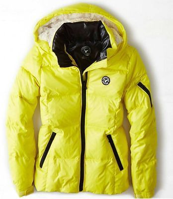 NWT American Eagle AEO Get Down Hooded Puffer Jacket Yellow- XS, S, M, L